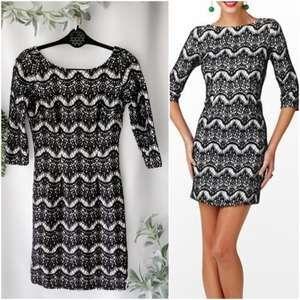 Lilly Pulitzer Nikola Black knit whit dress 0456